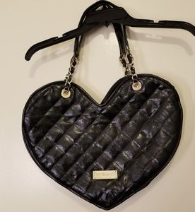 RARE Betsey Johnson quilted heart shaped purse